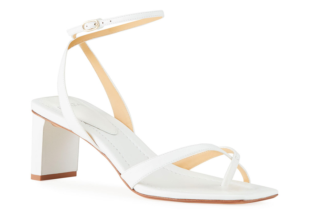 white sandals, square toe, alexandre birman