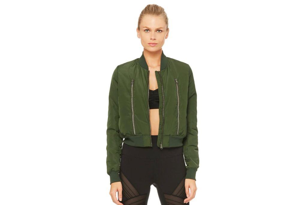 alo yoga, green bomber jacket