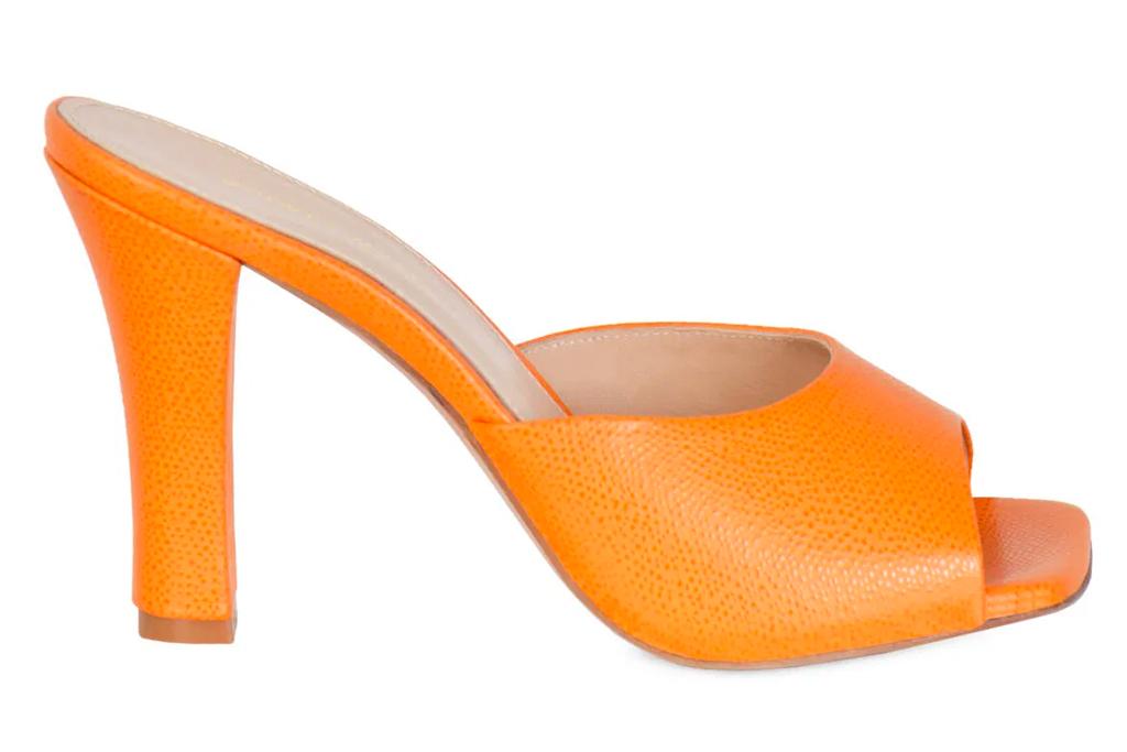 Andrea Wazen Gloria heels, orange, mules