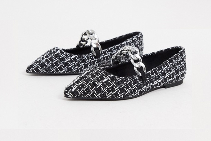 asos design lise ballet flats, chain shoes trend