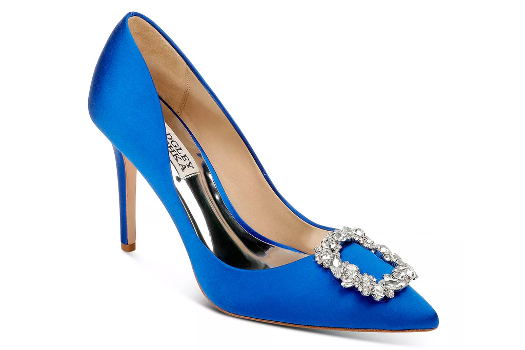 blue heels, badgley mischka