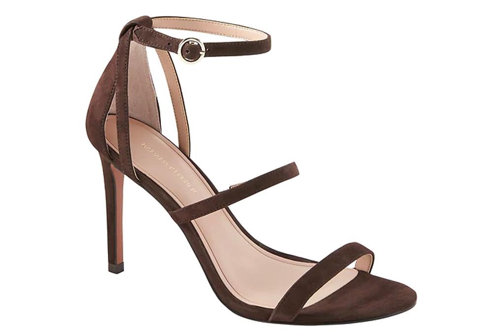 sandals, brown, heel, banana republic