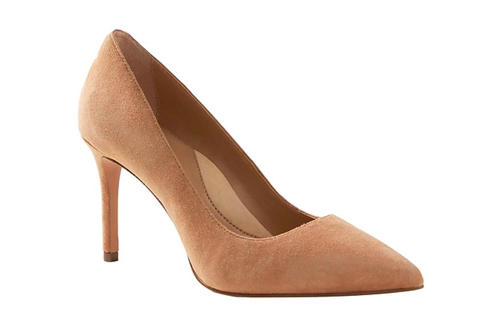 nude heels, pumps, suede, banana republic