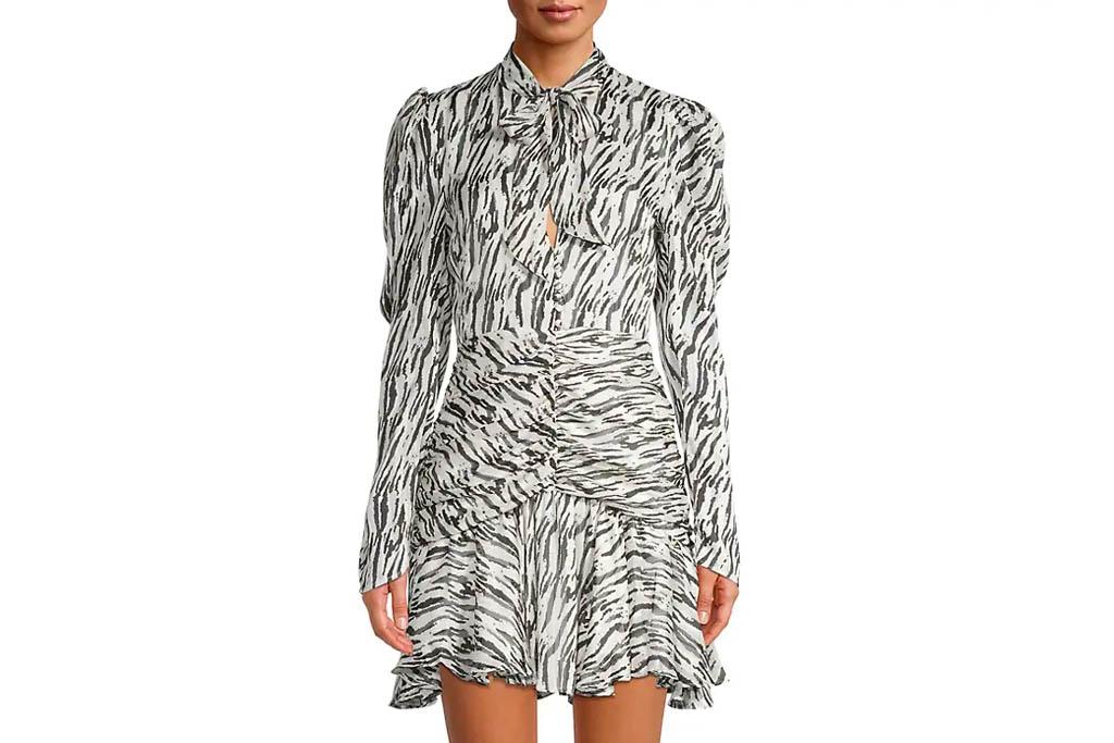zebra dress, stripe, bardot