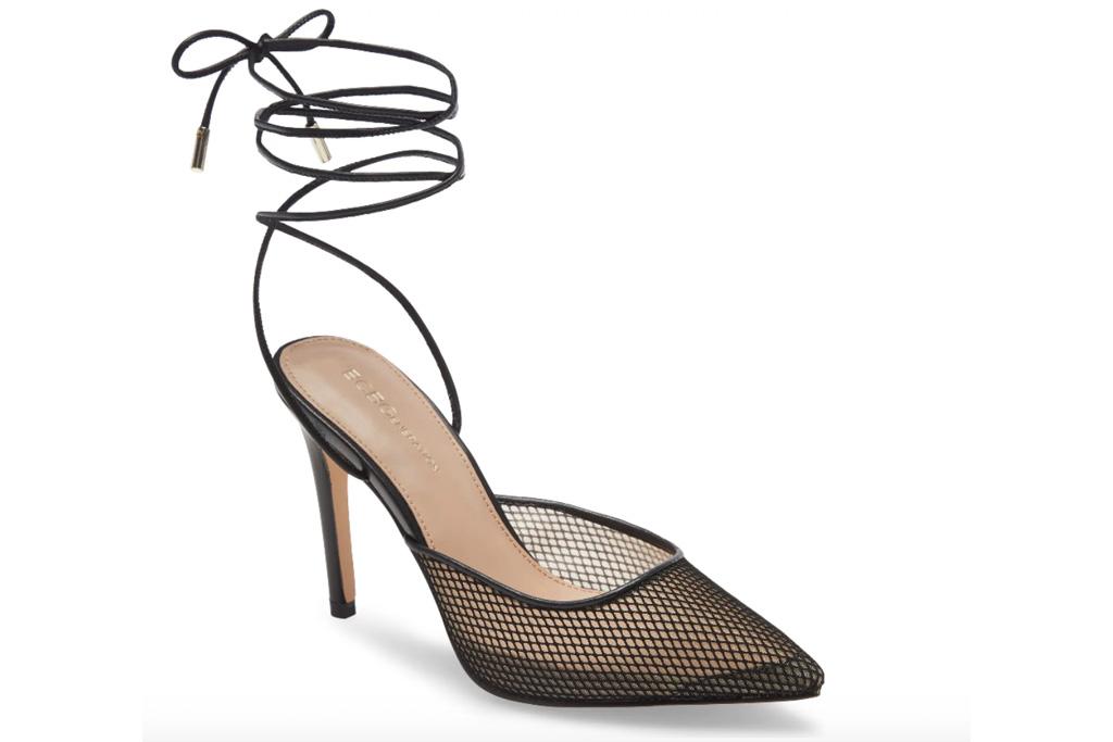 black heels, wrap, bcbg