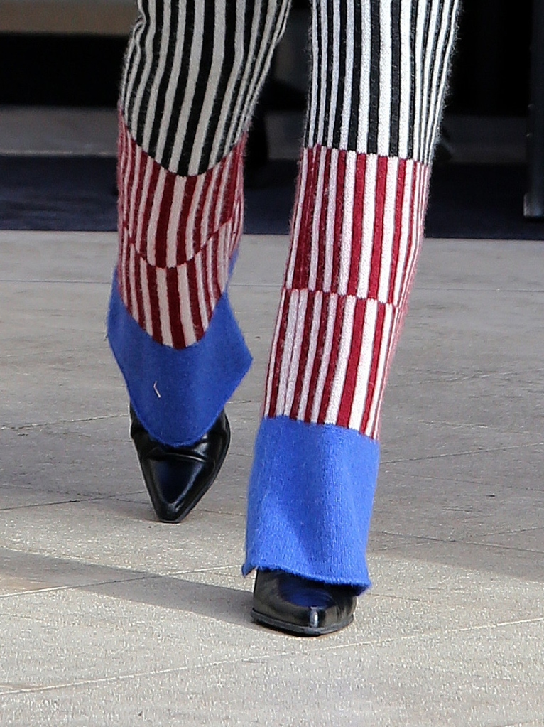 bella hadid, pants, sweater, stripe, coat, puffer jacket, boots, paris, paris fashion week