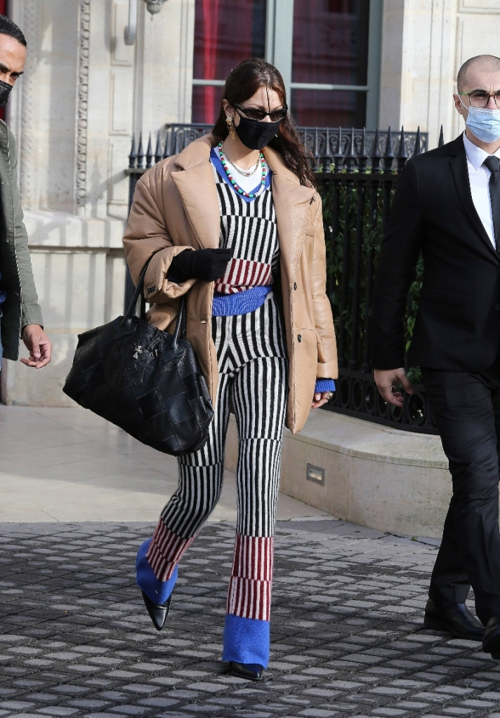 bella hadid, pants, sweater, stripe, coat, puffer jacket, boots, paris, paris fashion week