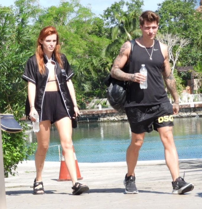 bella thorne, shorts, bikini, sandals