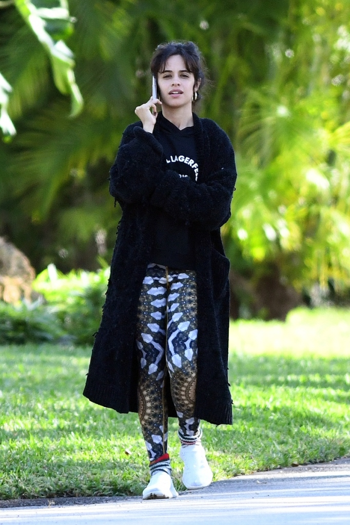 camila cabello, leggings, walk, workout, sneakers, white shoes, sweater, sweatshirt, miami