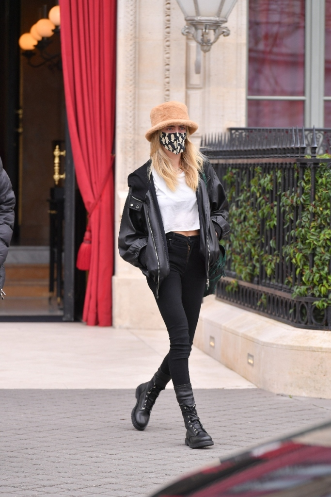 cara delevingne, combat boots, skinny jeans, boots, hat, jacket, leather, shirt, paris, paris fashion week