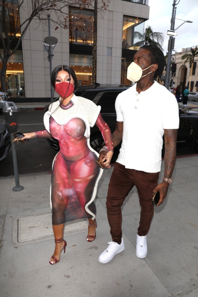 cardi b, dress, sheer, red, louis vuitton, sandals, heels, mask, offset, shopping, nike, los angeles, date