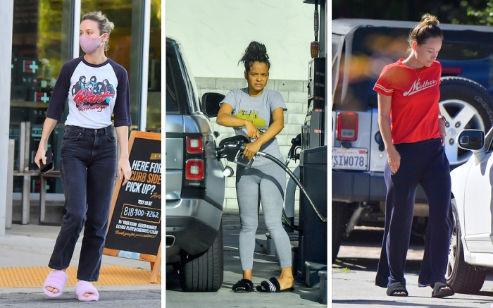 brie larson fuzzy slippers, christina milian, slippers, olivia wilde slippers, los angeles