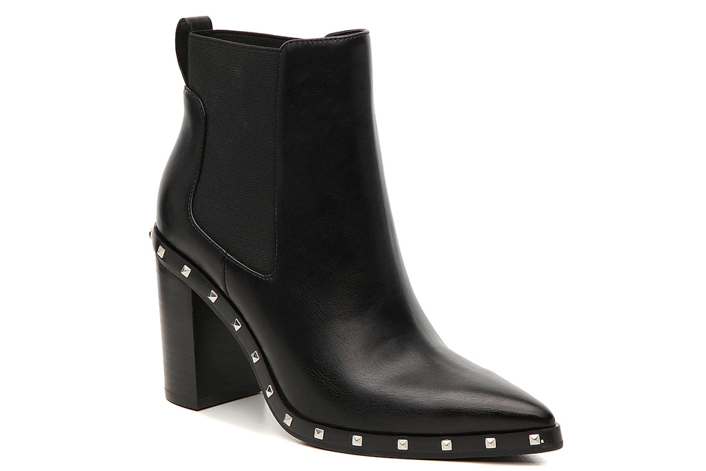 black boots, studded, heels, leather, charles david