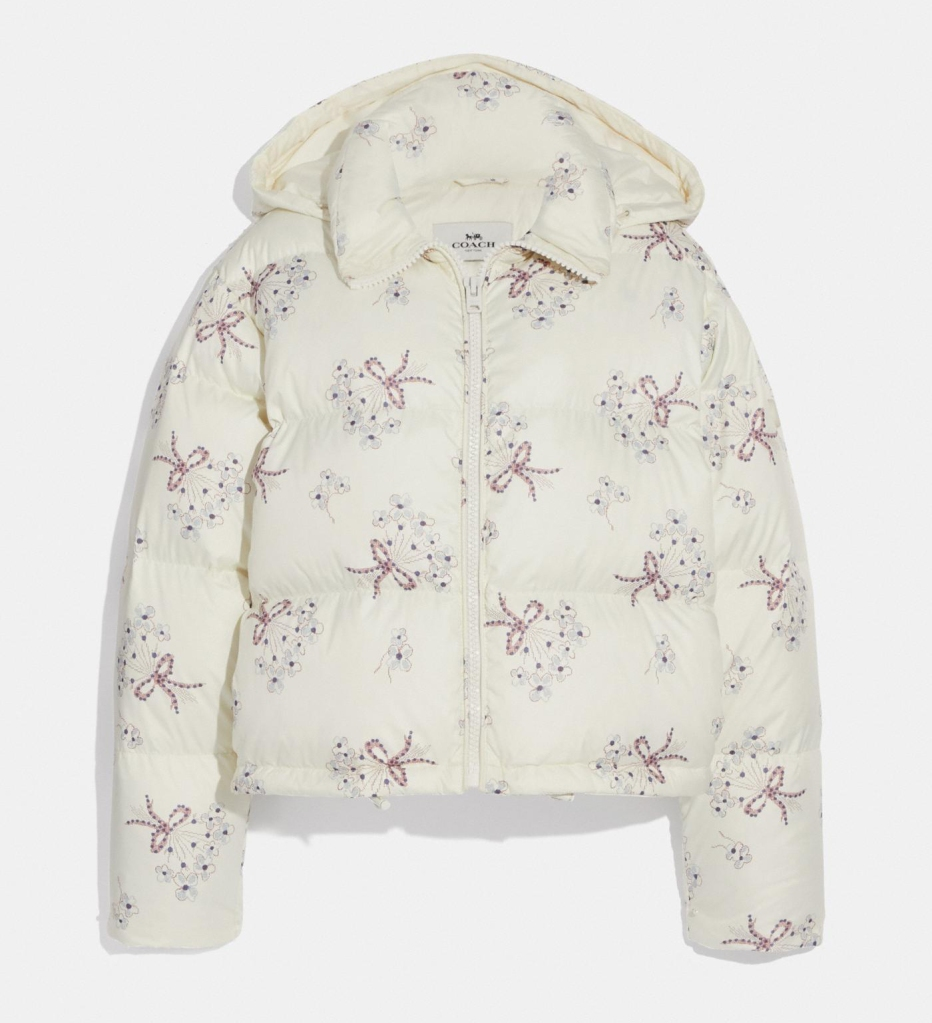 floral puffer, jacket, coach