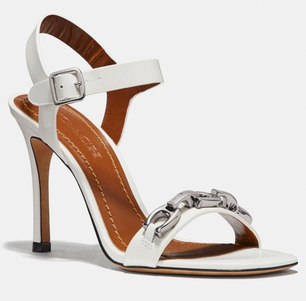 white sandals, chain, coach
