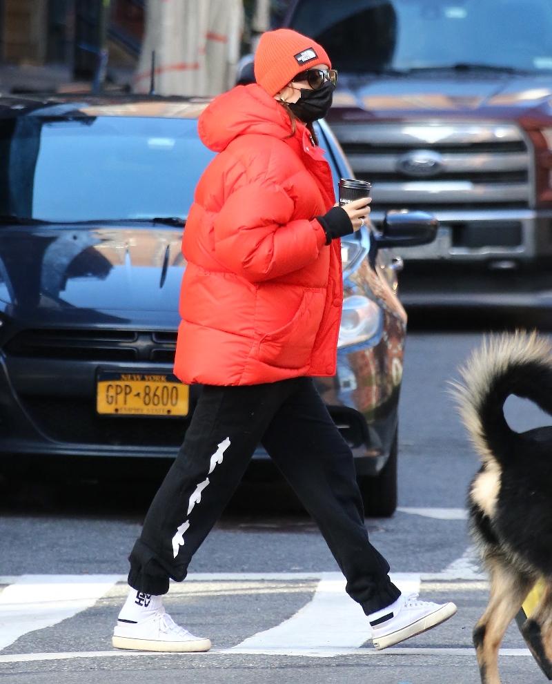 emily ratajkowski, sweatpants, inamorata woman, puffer, coat, north face, husband, walk, dog, sebastian bear-mcclard, red