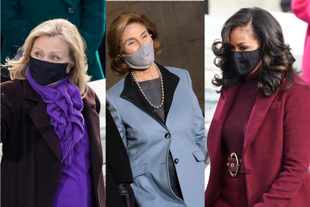 first lady fashion, first ladies in purple, 2021 inauguration, biden inauguration, 2020 election, michelle obama, hillary clinton.
