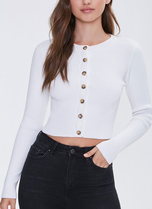 ribbed sweater, white, buttons, forever 21