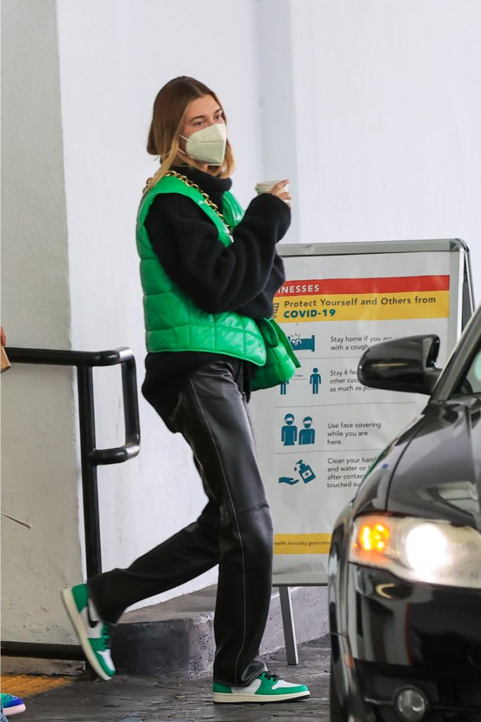hailey-baldwin-padded-vest-leather-pants-bottega-bag-beverly-hills
