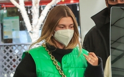 hailey-baldwin-green-vest-bottega-bag-beverly-hills