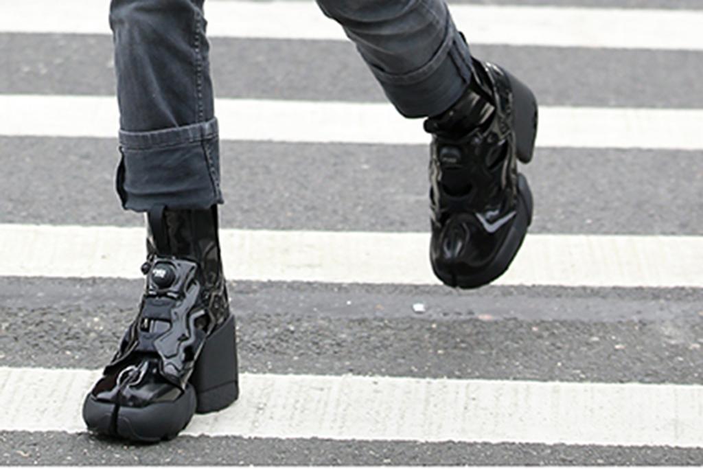 hunter schafer tabi boots, platform tabi boots, split toe platforms