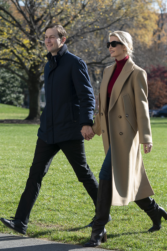 United States President Donald J. Trump returns to the White House in Washington, DC after spending Thanksgiving weekend at Camp David, the presidential retreat near Thurmont, Maryland on Sunday, November 29, 2020 Credit: Chris Kleponis / Pool via CNP. 29 Nov 2020 Pictured: First Daughter and Advisor to the President Ivanka Trump and husband, Jared Kushner, Assistant to the President and Senior Advisor return to the White House with United States President Donald Trump after spending Thanksgiving weekend at Camp David, the presidential retreat near Thurmont, Maryland. Credit: Chris Kleponis / Pool via CNP. Photo credit: Chris Kleponis - Pool via CNP / MEGA TheMegaAgency.com +1 888 505 6342 (Mega Agency TagID: MEGA718219_005.jpg) [Photo via Mega Agency]