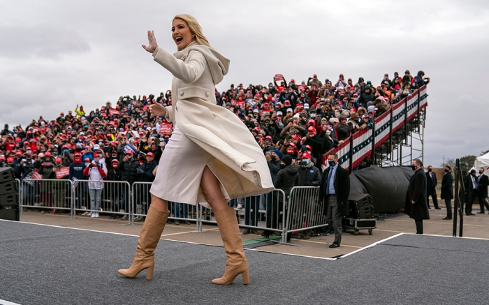 Ivanka Trump walks onstage to introduce her father, President Donald Trump at a campaign rally at Michigan Sports Stars Park, Sunday, Nov. 1, 2020, in Washington, Mich. (AP Photo/Evan Vucci)