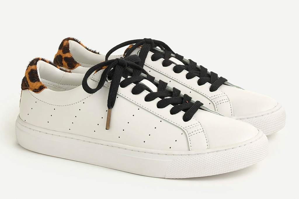 sneakers, white, black, j crew