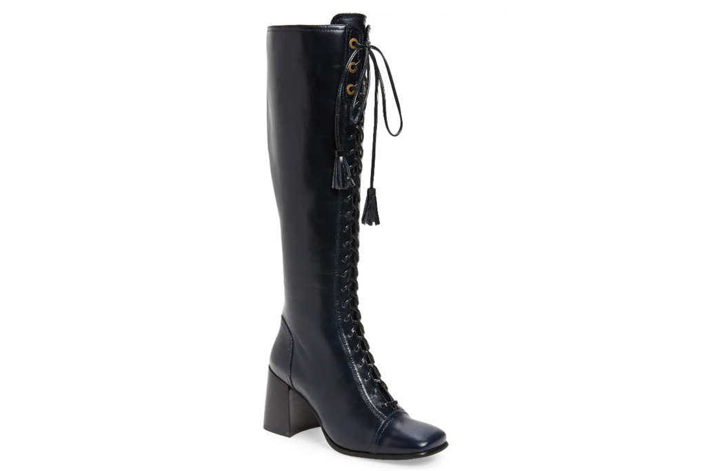 black boots, knee high, leather, lace up, jeffrey campbell