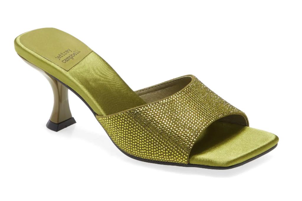 green sandals, jeffrey campbell