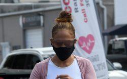 Jennifer Lopez arrives at Miami gym