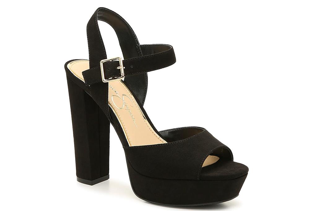 black sandals, platform, jessica simpson