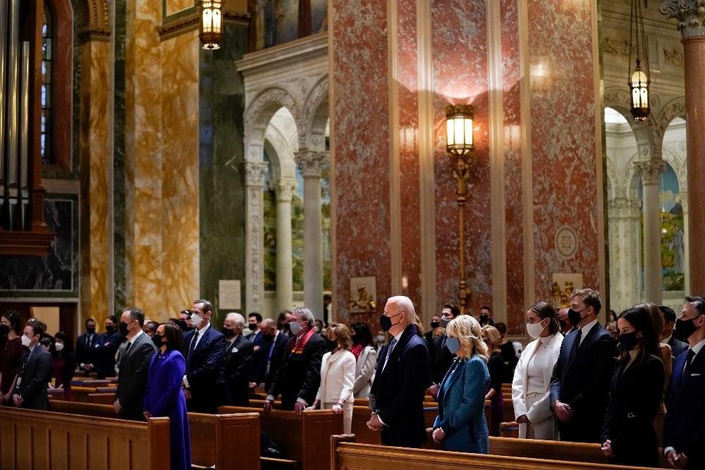 joe biden, jill biden, church, catholic, mass, inauguration day, dc, service, kamala harris, doug emhoff