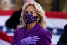 Jill Biden's Purple Dress Sends a Message of Unity As She Departs Delaware for D.C. With Joe Biden