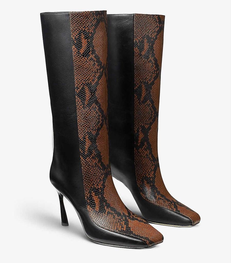 jimmy choo, snakeskin boots, black, two tone