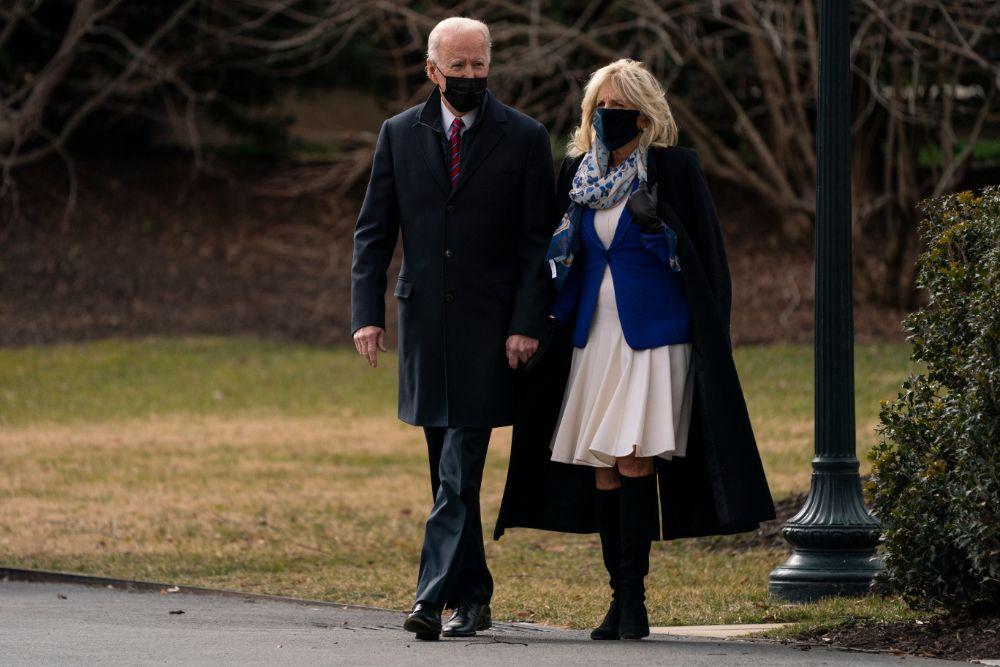 jill biden, dress, coat, boots, knee-high, white house, kiss, joe biden, president