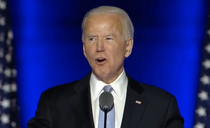 In this image from the Biden Campaign video feed, United States President-elect Joe Biden, left meets US Vice President-elect Kamala Harris, left, on stage prior to making remarks to the nation after being declared the victor of the 2020 US presidential election from the Chase Center in Wilmington, Delaware on Saturday, November 7, 2020. Credit: Biden Campaign via CNP. 07 Nov 2020 Pictured: In this image from the Biden Campaign video feed, United States President-elect Joe Biden, makes remarks to the nation after being declared the victor of the 2020 US presidential election from the Chase Center in Wilmington, Delaware on Saturday, November 7, 2020. Credit: Biden Campaign via CNP. Photo credit: Biden Campaign via CNP / MEGA TheMegaAgency.com +1 888 505 6342 (Mega Agency TagID: MEGA713644_002.jpg) [Photo via Mega Agency]