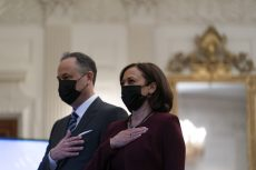 Kamala Harris Styles Monochrome Burgundy Look with Black Heels for Inaugural Prayer Service