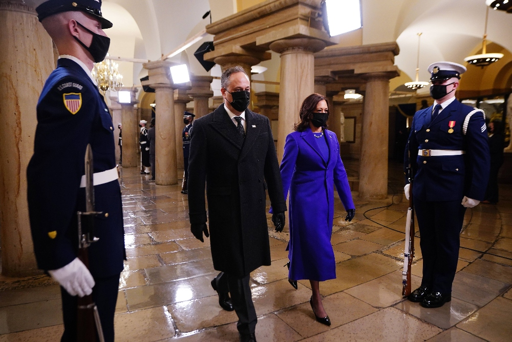 Doug Emhoff and VP Kamala Harris arrive at US Capitol for Inauguration, Jan. 20.