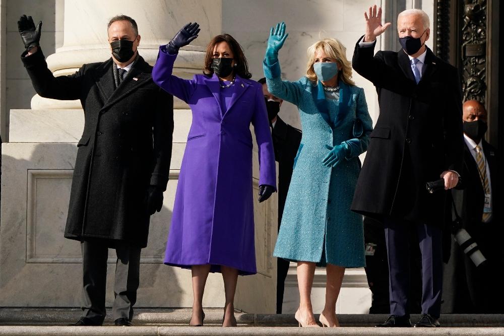 Doug Emhoff, Vice President Kamala Harris, Jill Biden and President Joe Biden at the 2021 Inauguration Ceremony, Jan. 20.