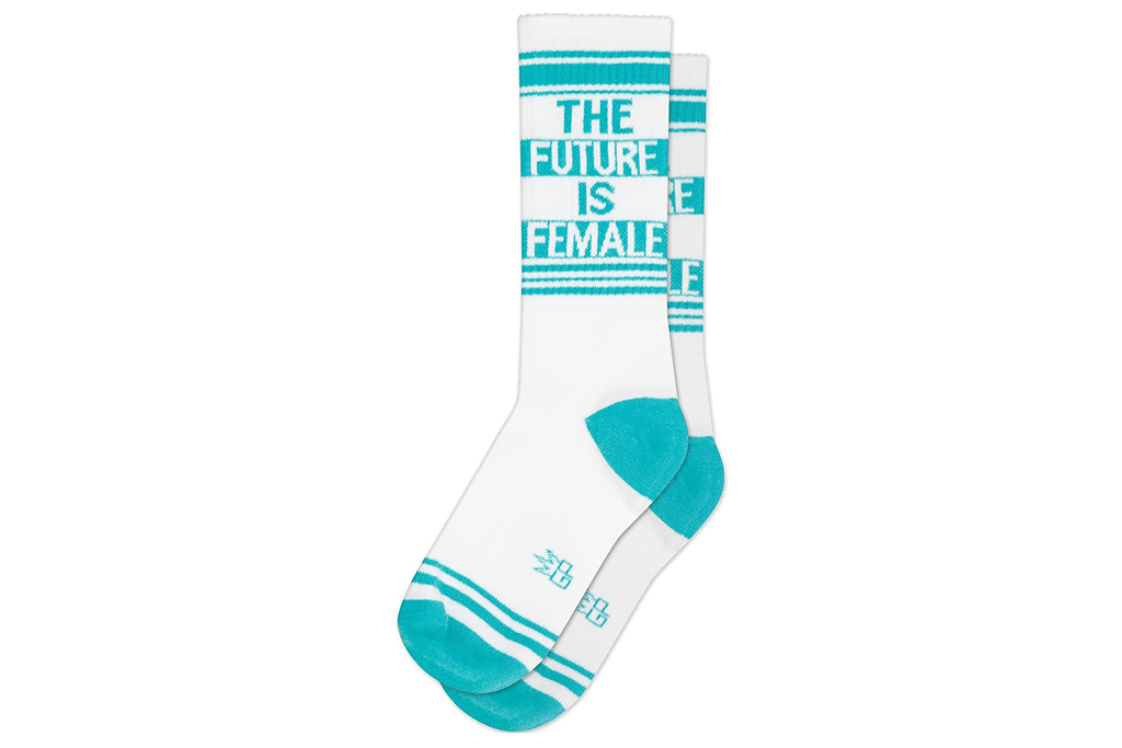 Gumball Poodle, kamala harris, blue, white, 'The Future is Female' socks