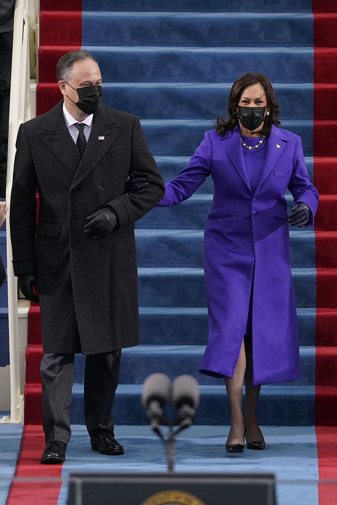 Vice President-elect Kamala Harris and her husband Doug Emhoff, arrive for the 59th Presidential Inauguration at the U.S. Capitol in Washington, Wednesday, Jan. 20, 2021.(AP Photo/Patrick Semansky, Pool)