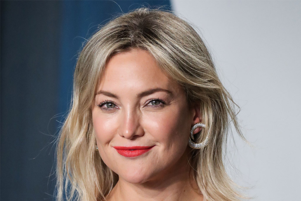 Image of article 'Kate Hudson's Bustier Dress, Polka Dot Tights & Strappy Pumps Reinvent Work-From-Home Style'