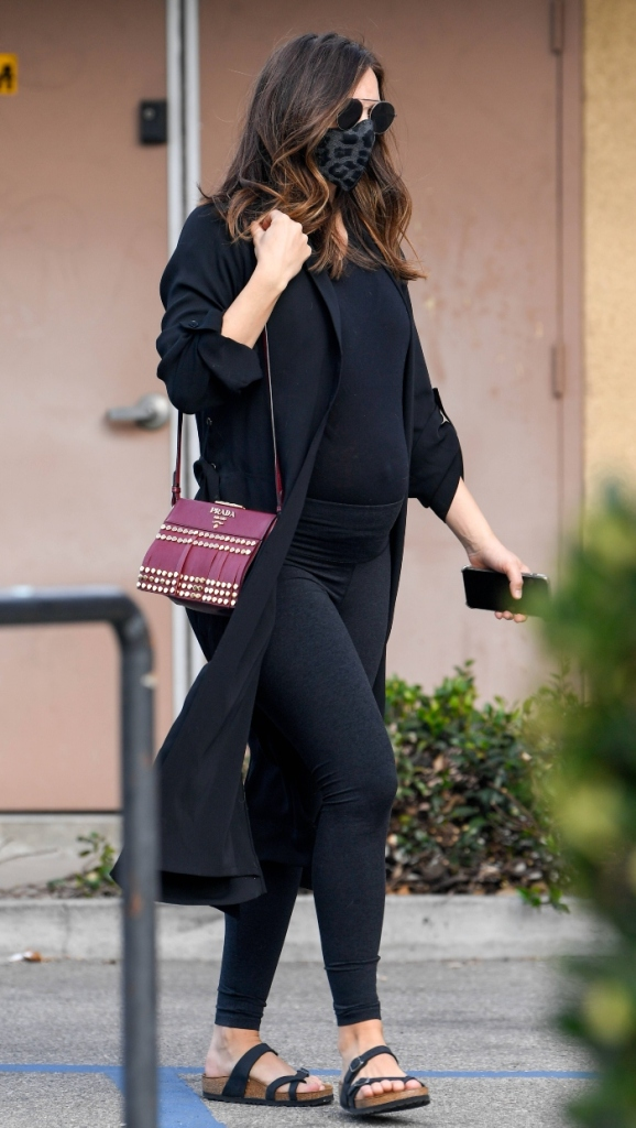katharine mcphee, leggings, pregnant, sandals, sweater, coat, purse, shirt, los angeles, david foster, baby bump