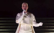 "Katy Perry Closes Out ""Celebrating America"" Special in Regal Cape Gown and Jimmy Choo Heels"