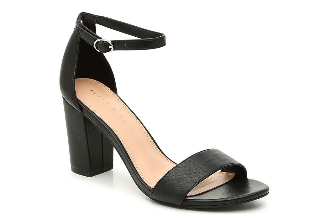 sandals, black, block heel, kelly katie