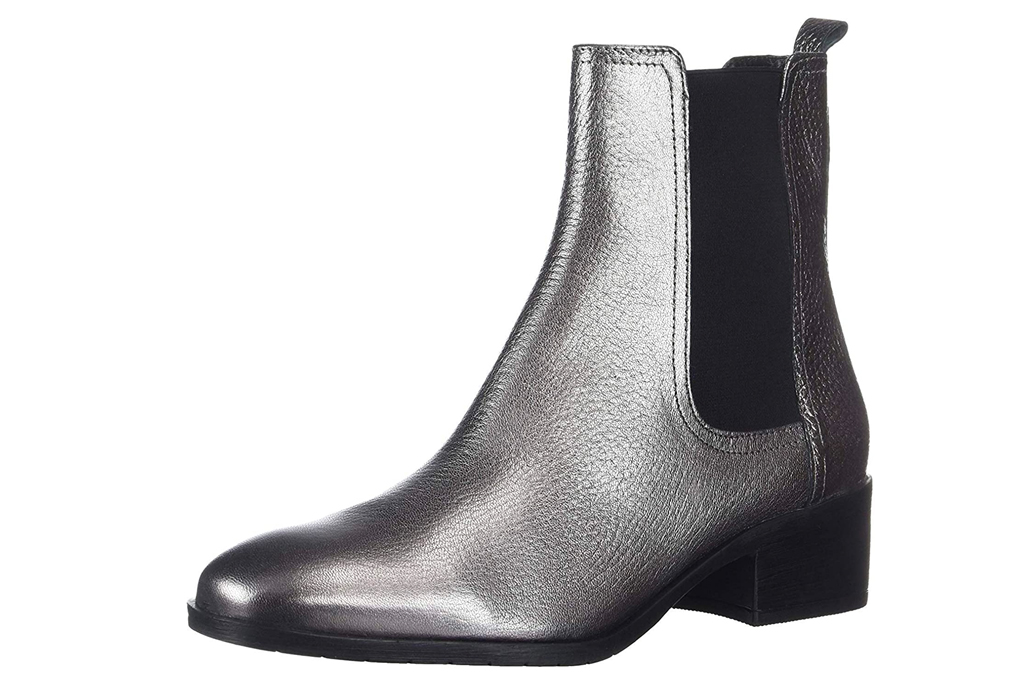 silver boots, metallic, kenneth cole