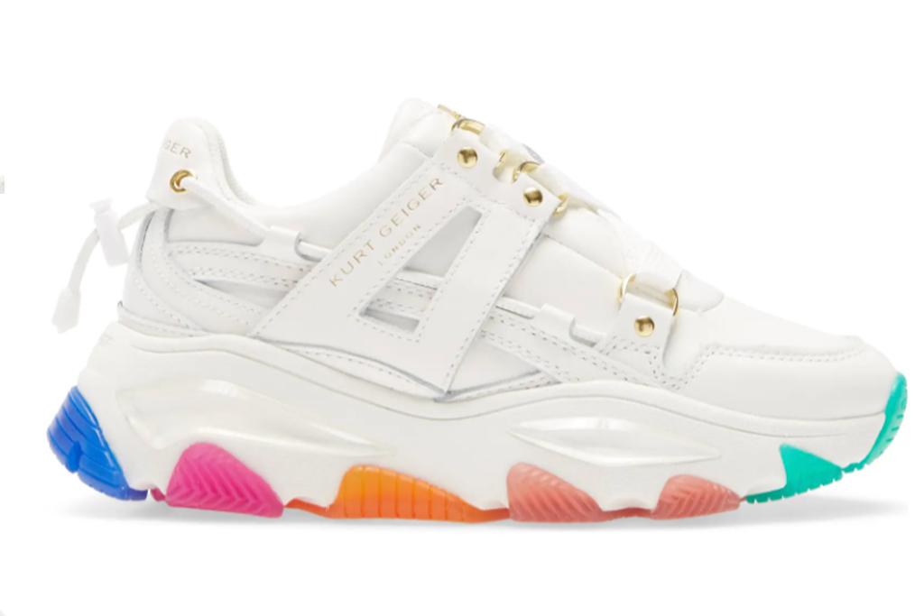 kurt geiger london rainbow sneaker, mindy kaling rainbow sneaker, white chunky rainbow sneaker