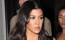 kourtney kardashian, bustier, pants