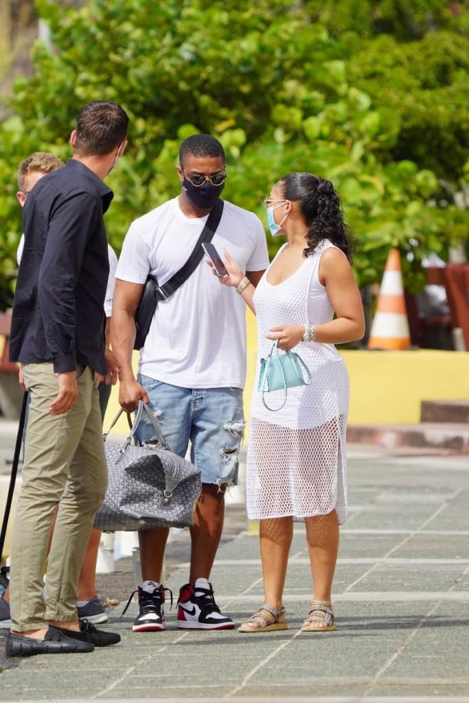 michael b jordan, lori harvey, vacation, couple, sneakers, sandals, beach, dress, shorts, st barts